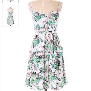 Casual a line botanic dress with buttons